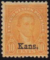 Scott 668   10c Monroe Fourth Bureau Overprinted Kans. Unused Hinged. - Vereinigte Staaten