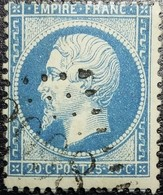 N°22. Variété (perles Relié, 20c Postes 20c Touche La Ligne Supérieur). Oblitéré Losange G.C. N°3998 Tours-sur-Marne - 1862 Napoléon III