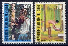CONGO - 629/630° - EXTRACTION DU CAOUTCHOUC - Oblitérés