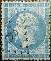 N°22. Variété (Voir Impression, Point Dans Valeur, Filet Inférieure Du Cadre Très Fin). Oblitéré Losange G.C. - 1862 Napoléon III