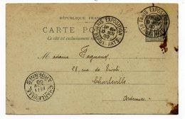 Entier Postal Type Sage 10 C Noir -  Oblitération Paris Exposition Beaux Arts 1900 Pour Charleville - Entiers Postaux