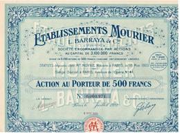 Titre Ancien - Etablissements Mourier - L. Barraya & Cie - Société En Commandite Par Actions - Titre De 1923 - - Industrie