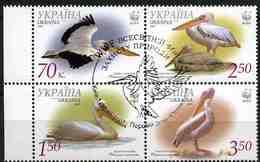 Ukraine 2007 MiNr. 897 - 900 BIRDS WWF Great White Pelican   M\sh  CTO  6.50 € - Oekraïne