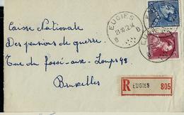 Doc. De EUGIES - B B - Du 21/10/52  Avec 832/833a  En Rec. - Marcophilie