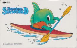 TC JAPON / 110-011 - Série SEA WORLD 1 - COMICS ANIMAL - POISSON LUNE CANOE KAYAK - FISH JAPAN Phonecard - Stripverhalen