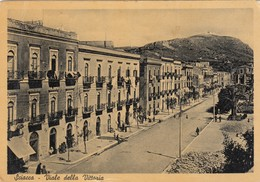 SCIACCA-AGRIGENTO-VIALE DELLA VITTORIA-CARTOLINA VERA FOTOGRAFIA- NON VIAGGIATA ANNO 1950 - Agrigento