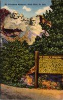 South Dakota Black Hills Mount Rushmore Memorial 1953 Curteich - Mount Rushmore