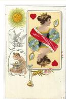 DIVERS    CARTES A JOUER    DAME DE COEUR       SOLEIL .. COLOMBES   ET ENFANT FORGERON  COULEURS  TIRAGE 1900 - Playing Cards