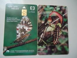 CYPRUS USED CARDS  BUTTERFLIES - Vlinders