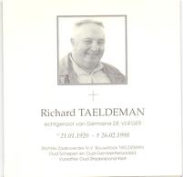 Devotie Doodsprentje Overlijden - Oud Schepen Richard Taeldeman Echtg Germaine De Vlieger - 1920 - 1998 - Maldegem - Obituary Notices