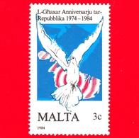Nuovo - MNH - MALTA - 1984 - 10 Anni Della Repubblica  - Colomba Sulla Mappa - 3 - Malta