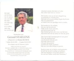 Devotie Doodsprentje Overlijden - Ere Schepen Gerard Staelens Echtg Denise De Neve - Aalter 1933 - 1999 - Obituary Notices