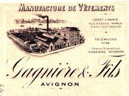 GAGNIERE   Manufacture De Vetements  AVIGNON  Illustration Usine 1909 - Bills Of Exchange