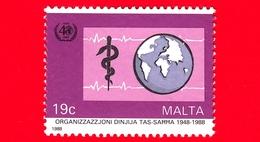 Nuovo - MNH - MALTA - 1988 - 40 Anni Dell'OMS (organizzazione Mondiale Sanità) - Globo E Simbolo - 19 C - Malta