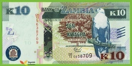 Voyo ZAMBIA 10 Kwacha 2015 P58 B161a CK/12 UNC Fish Eagle - Zambia