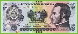 Voyo HONDURAS 5 Lempiras 2014 P98b  Prefix BL UNC - Honduras