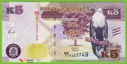 Voyo ZAMBIA 5 Kwacha 2015 P57 B160a UNC Prefix BG/12 Fish Eagle - Zambia