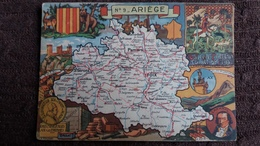 CPSM GEOGRAPHIQUE DEPARTEMENT DE L ARIEGE BLASON FRANCE CONTOUR PINCHON BLONDEL ROUGERY HOMMES CELEBRES - Mapas