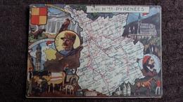 CPSM GEOGRAPHIQUE DEPARTEMENT DES HTES PYRENEES BLASON FRANCE CONTOUR PINCHON BLONDEL ROUGERY HOMMES CELEBRES - Mapas