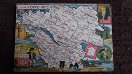 CPSM GEOGRAPHIQUE DEPARTEMENT DE LA LOIRE INFERIEURE 44 BLASON FRANCE CONTOUR PINCHON BLONDEL ROUGERY HOMMES CELEBRES - Mapas