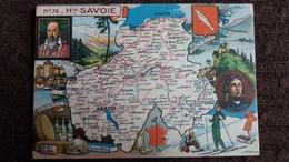 CPSM GEOGRAPHIQUE DEPARTEMENT DE LA HTE SAVOIE 74  BLASON FRANCE CONTOUR PINCHON BLONDEL ROUGERY HOMMES CELEBRES - Mapas