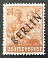 "1948 Abart IX ( Unterer Bogen Des ,,B"" Ausgebrochen )  Kontrollratsausgabe Mit Auffdruck BERLIN Mi.9 IX**) - Ongebruikt"