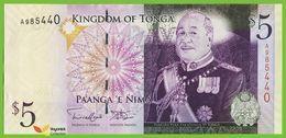 Voyo TONGA  5 Pa'anga  ND(2009) P39(2) B214b Prefix A UNC - Tonga
