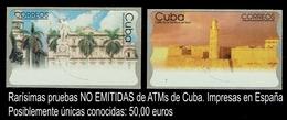 CUBA. PRUEBAS DE ATMs NO EMITIDAS. IMPRESOS EN ESPAÑA. - Non Dentelés, épreuves & Variétés