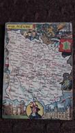 CPSM GEOGRAPHIQUE DEPARTEMENT DE LA NIEVRE BLASON FRANCE CONTOUR PINCHON BLONDEL ROUGERY HOMMES CELEBRES - Mapas
