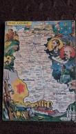 CPSM GEOGRAPHIQUE DEPARTEMENT DE LA LOIRE BLASON FRANCE CONTOUR PINCHON BLONDEL ROUGERY HOMMES CELEBRES - Mapas