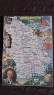 CPSM GEOGRAPHIQUE DEPARTEMENT DE LA HTE MARNE BLASON FRANCE CONTOUR PINCHON BLONDEL ROUGERY HOMMES CELEBRES - Mapas