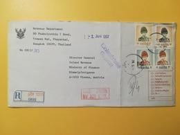 1997 BUSTA INTESTATA RACCOMANDATA TAILANDIA THAILAND BOLLO KING BHUMIBOL ADULYADEJ ANNULLO OBLITERE' MINISTRY FINANCE - Tailandia
