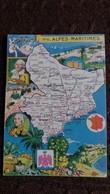 CPSM GEOGRAPHIQUE DEPARTEMENT DES ALPES MARITIMES BLASON FRANCE CONTOUR PINCHON BLONDEL ROUGERY HOMMES CELEBRES - Mapas