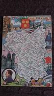 CPSM GEOGRAPHIQUE DEPARTEMENT DE L AVEYRON BLASON FRANCE CONTOUR PINCHON BLONDEL ROUGERY HOMMES CELEBRES - Mapas