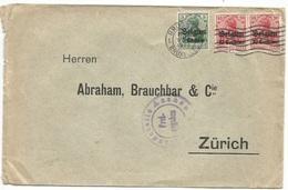 / German Reich In Belgium - Commerce CV Brux 7nov1915 X Zurich With Germania OVPT BELGIEN 3V. - WW I