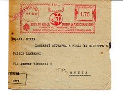 1939 EMA Affrancatura Meccanica Rossa Freistempel Torino Società Reale Mutua Di Assicurazioni Fond. 1828 Profilo Italia - Machine Stamps (ATM)
