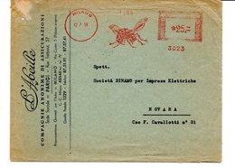 1956 EMA Affrancatura Meccanica Rossa Freistempel Milano L'Abeille Compagnia Assicurazioni Ape In Volo - Machine Stamps (ATM)