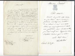 ERNESTO ROSSI  1827 - 1896 ( Acteur Italien ) 2 Lettres Ecrites à Paris 1866 - 1876 ( Une à Isambert ) - Autographes