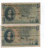 AFRIQUE DU SUD - 2 Billets De 1 Pound  ( 1958-59 ) Cat World  92 Ou 93 -  Circulés - Sudafrica