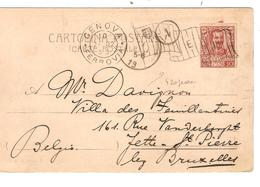REF1314/ Italy CP-PC Flag Cancellation Genova 1902 > Belgio - 1900-44 Victor Emmanuel III.