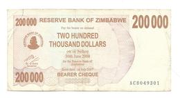 Zimbabwe - 200,000 Dollars - Zimbabwe