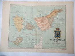 Canarias  Palma, Gomera, Hierro Y Tenerife + Posesiones África - Geographical Maps