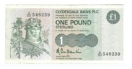 United Kingdom / Great Britain - Elizabeth II - 1 Pound - Clydesdale Bank - Schotland