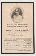 AVIS MORTUAIRE MADAME PIERRE BOULIEU NEE MARIE LOUISE LORTHIOIR  AVEC MEDAILLON PHOTO C353 - Obituary Notices