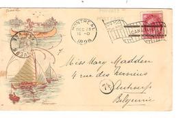 REF1318/ Canada CP-PC Flag Cancellation - Oblitération Drapeau Montréal 1898  > Belgium - 1851-1902 Règne De Victoria