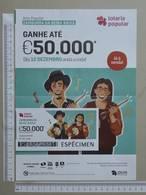 PORTUGAL   2019 - CARTAZ DE LOTARIA POPULAR - FORMATO A4 -  DOBRA AO MEIO -  2 SCANS  -  50ª  - (Nº35884) - Lottery Tickets
