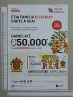 PORTUGAL   2020 - CARTAZ DE LOTARIA POPULAR - FORMATO A4 -  DOBRA AO MEIO -  2 SCANS  -  6ª  - (Nº35887) - Lottery Tickets