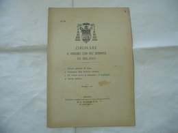 CIRCOLARE AL VENERABILE CLERO DOTTRINA CRISTIANA  DIOCESI DI MILANO 1901 - Religion