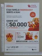 PORTUGAL   2020 - CARTAZ DE LOTARIA POPULAR - FORMATO A4 -  DOBRA AO MEIO -  2 SCANS  -  9ª  - (Nº35890) - Lottery Tickets