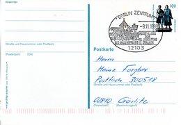"BRD Amtliche Ganzsachen-Postkarte P 157  WSt ""Goethe-Schiller-Denkmal, Weimar"" 100 (Pf), SSt. 9.11.1999 BERLIN ZENTRUM - Postcards - Used"